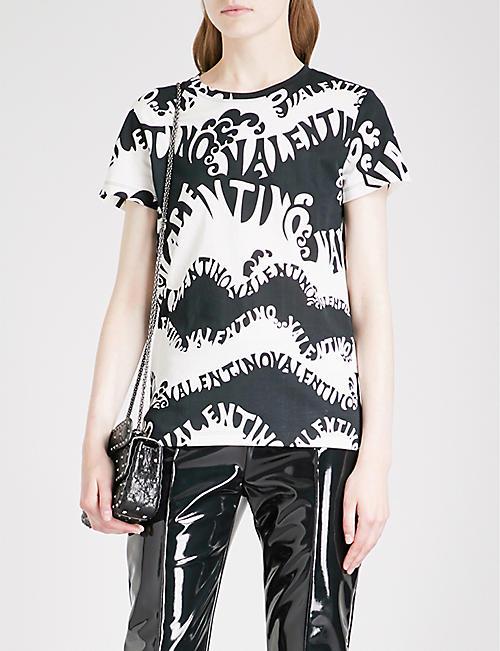 VALENTINO Wave logo-print cotton-jersey T-shirt 9bc181e0986