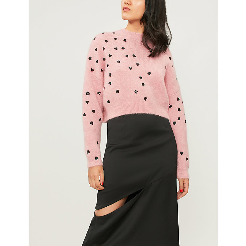 Cropped Sequin-Embellished Mohair-Blend Sweater, Absolute Rose