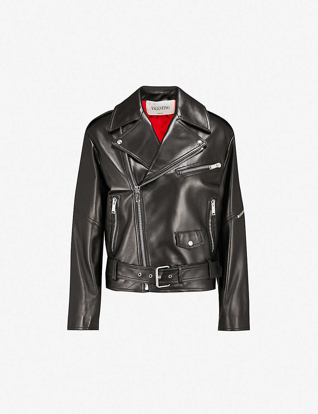 5ab968ecc VALENTINO - VLTN logo-back leather jacket | Selfridges.com