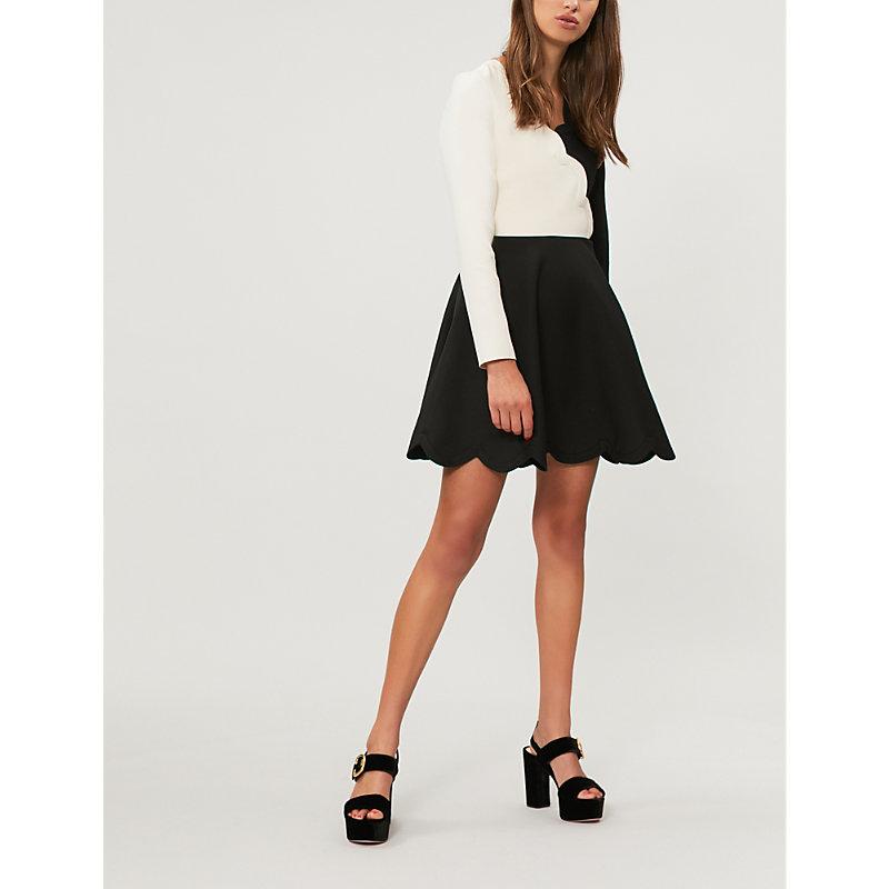 Scalloped Two-Tone Wool And Silk-Blend Mini Dress, Nero/Avorio