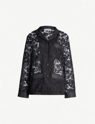 VALENTINO Floral lace cotton-blend shirt
