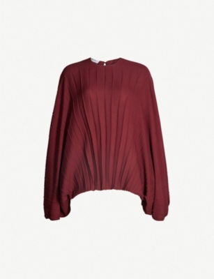 VALENTINO Pleated silk-crepe top