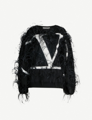 VALENTINO Feather-embellished logo-print cotton-blend sweatshirt