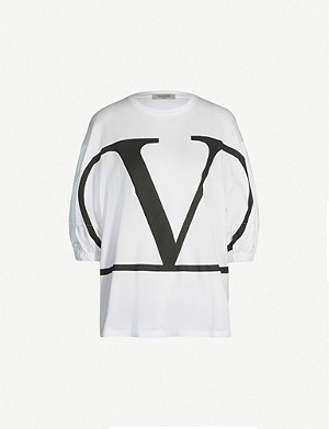 VALENTINO Deconstructed V Logo-print cotton-jersey T-shirt
