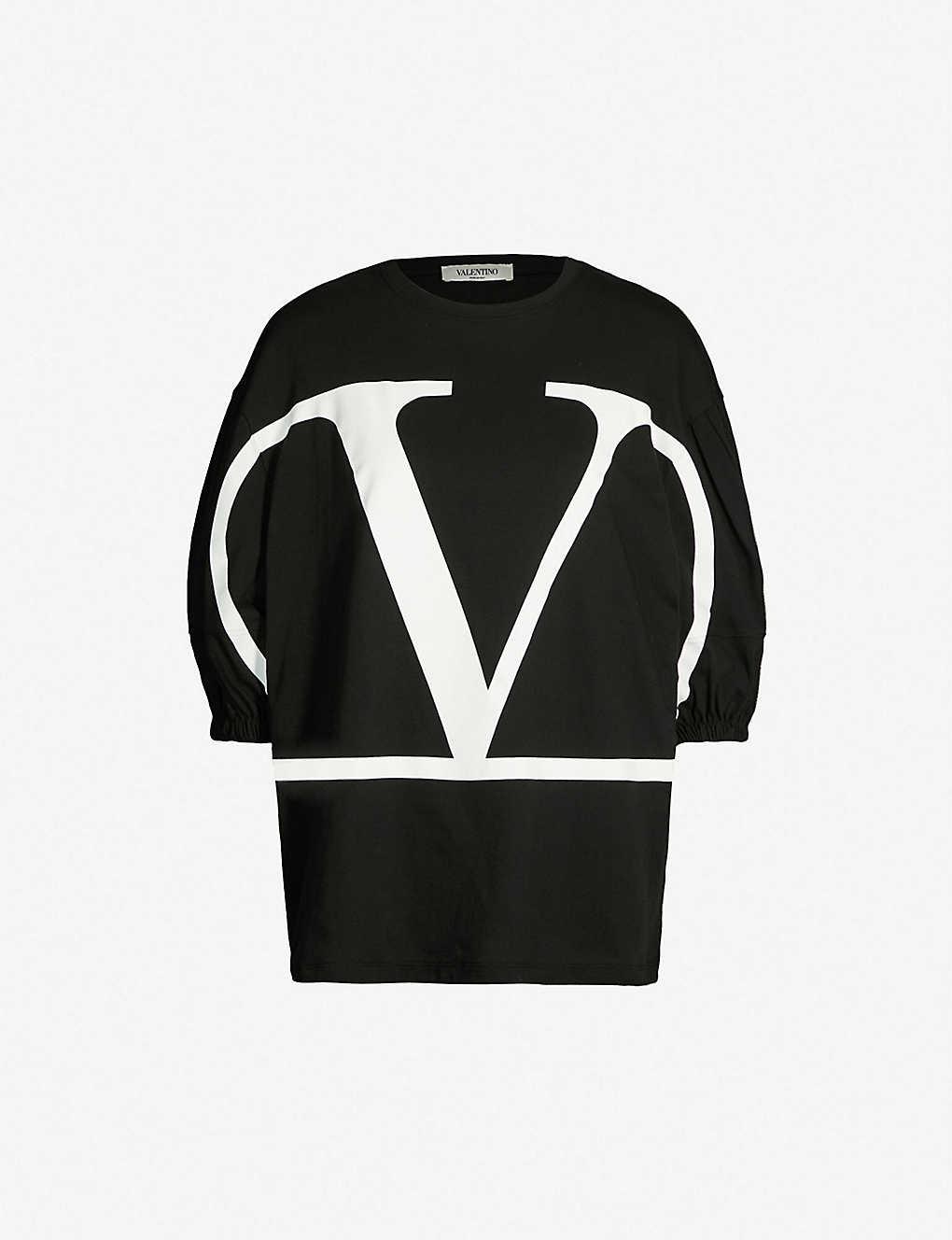 e0c89b24 VALENTINO - Deconstructed VLogo-print cotton-jersey T-shirt | Selfridges.com