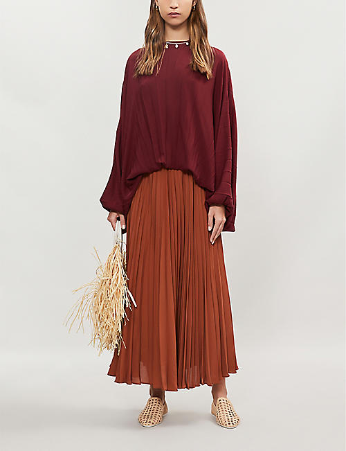 VALENTINO Pleated silk-crepe skirt