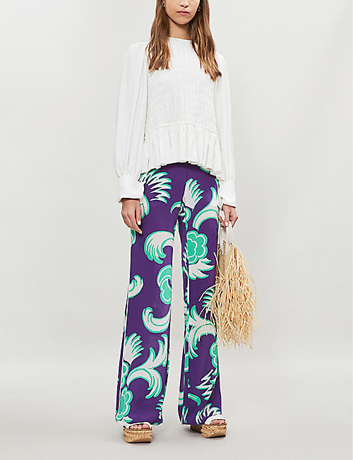 VALENTINO Floral-print wide-leg silk-crepe trousers