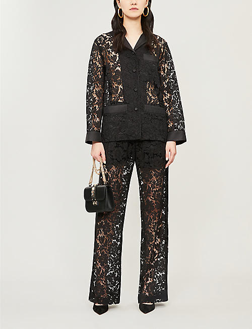 VALENTINO Wide-leg lace trousers