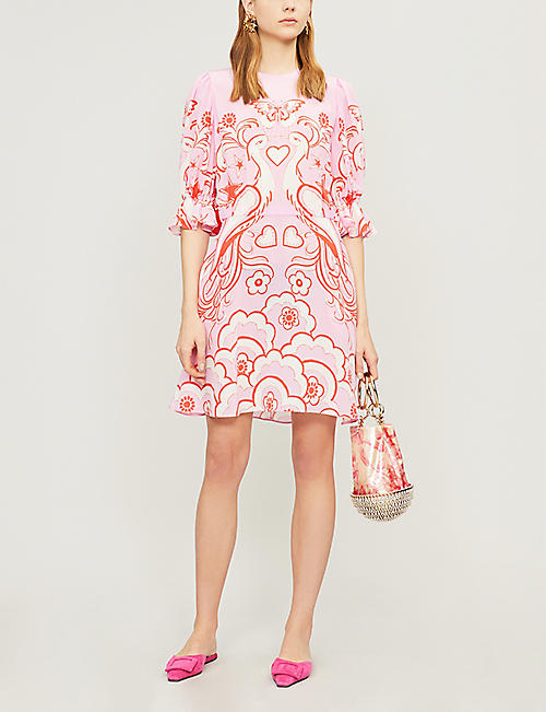 VALENTINO Butterfly-print silk-twill dress
