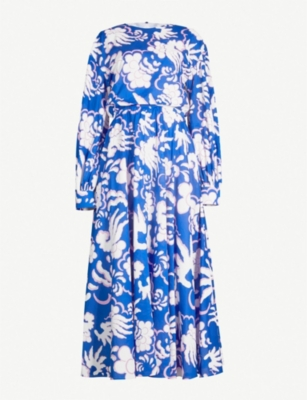 VALENTINO Geometric-print cotton midi dress