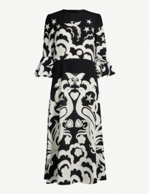VALENTINO Pheonix peacock-print silk-crepe midi dress
