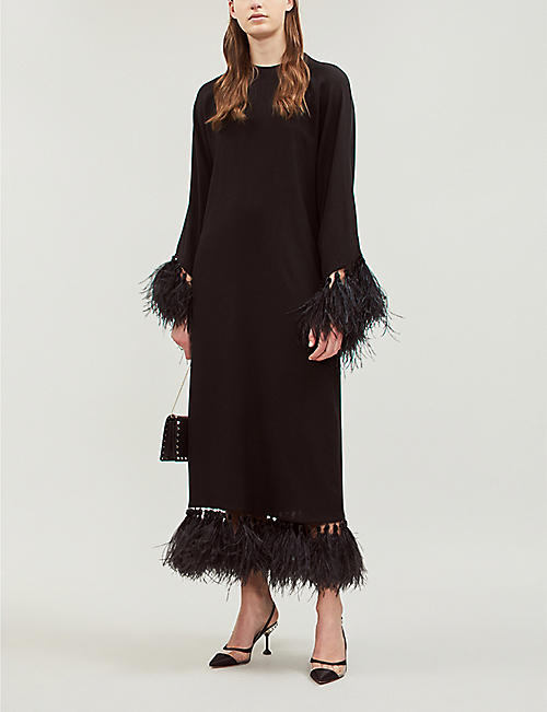 VALENTINO Feather-trimmed stretch-silk gown