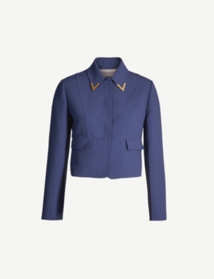 VALENTINO Embellished cropped wool-crepe jacket