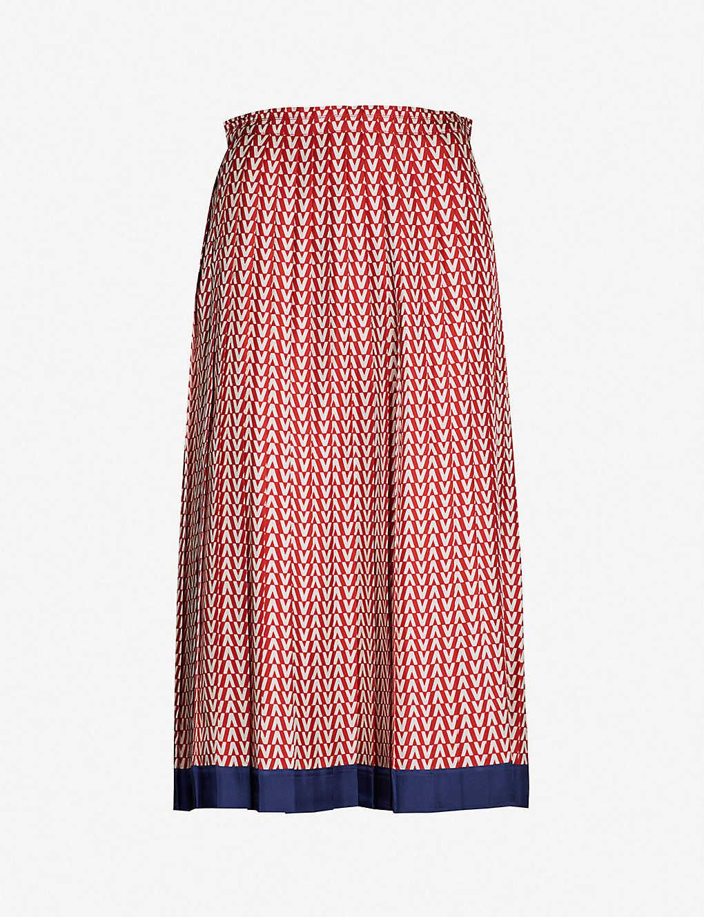 Valentino Skirts Logo-print silk-twill skirt