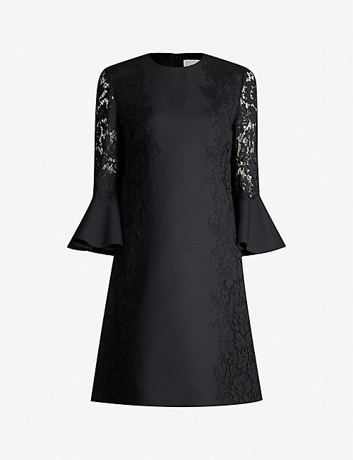 a9e848e2a5d VALENTINO Lace-sleeve wool and silk-blend shift dress