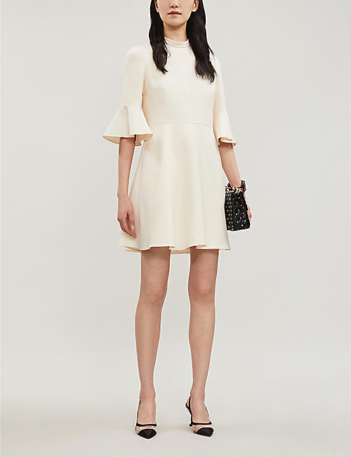 VALENTINO Flared wool and silk-blend dress