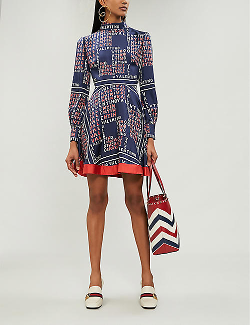 VALENTINO Logo-print silk-twill mini dress