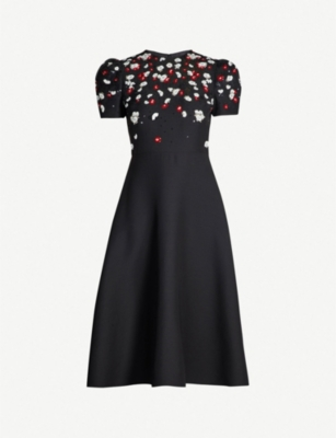 VALENTINO Flower sequin wool and silk-blend dress