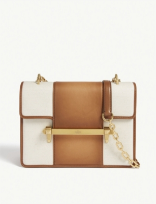 VALENTINO Uptown leather and canvas shoulder bag