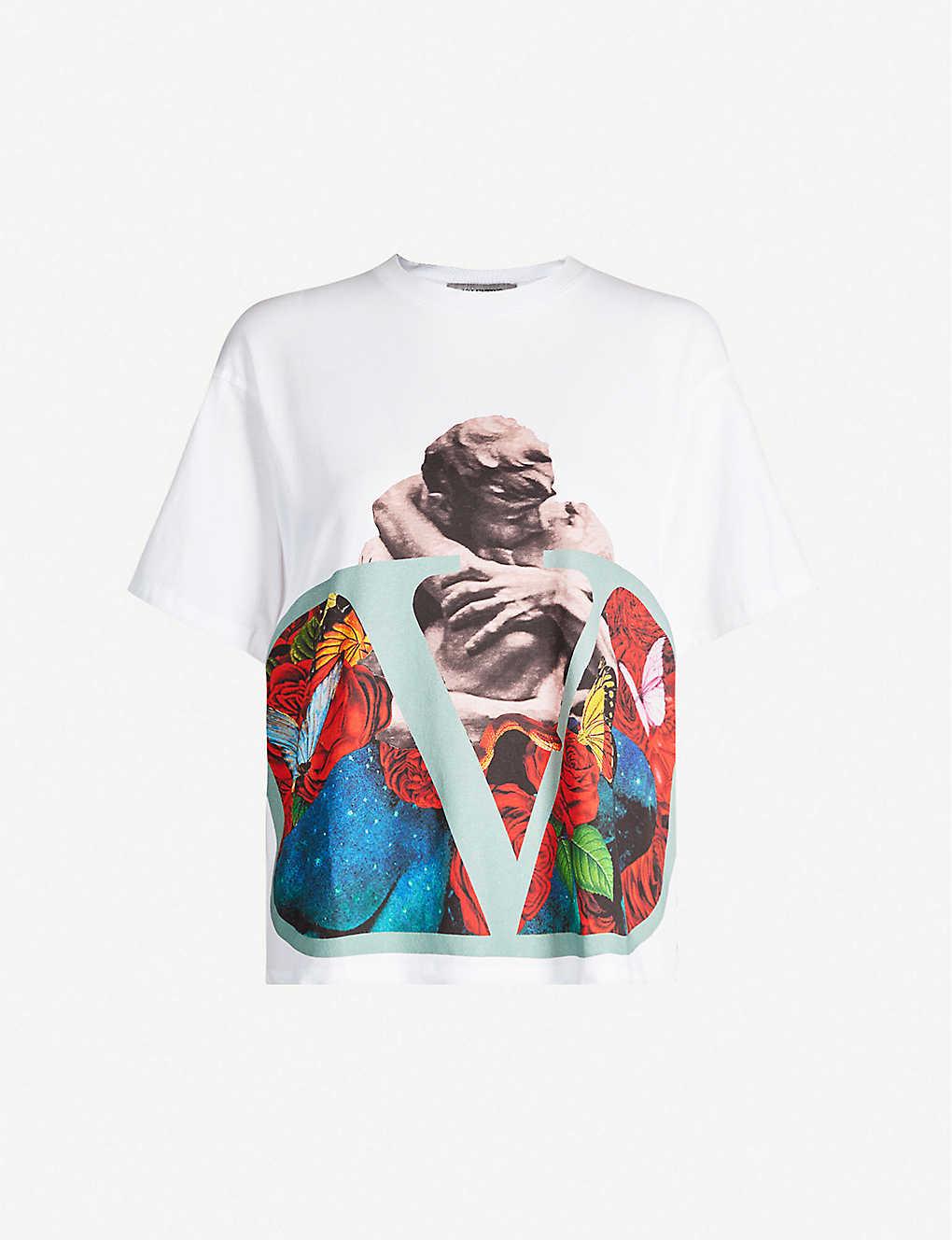 Valentino Shirts Oversized graphic-print cotton-jersey T-shirt