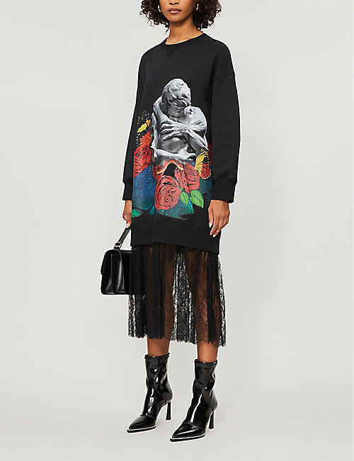 VALENTINO Graphic-print cotton-blend jersey and lace midi dress