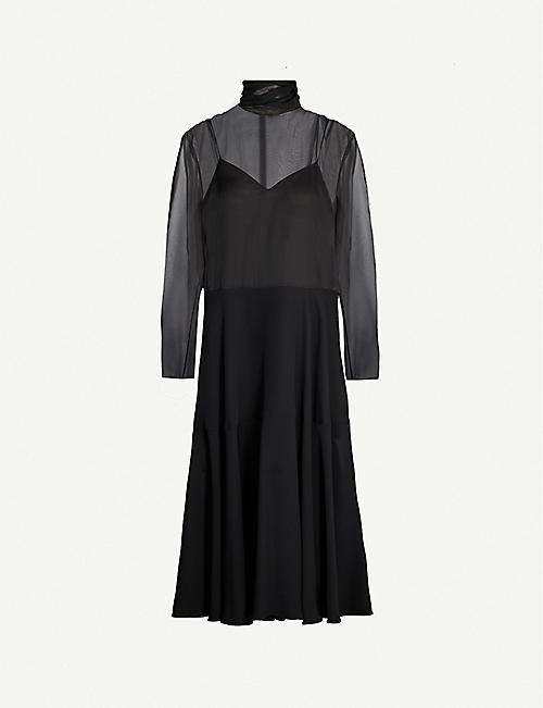 VALENTINO High-neck panelled silk midi dress