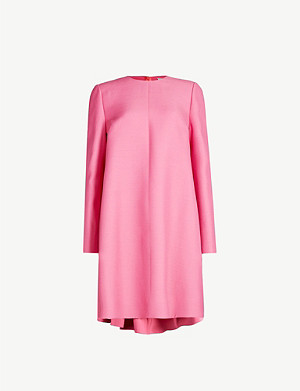 VALENTINO Cape-detail wool and silk-blend mini dress
