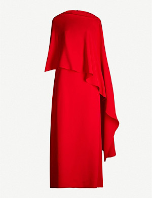 VALENTINO Cape-sleeve silk-crepe maxi dress