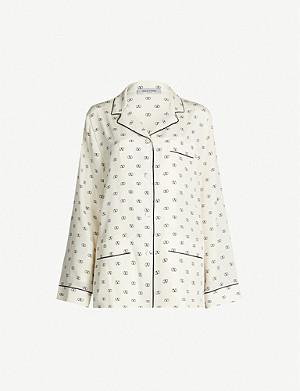 VALENTINO Piped-trim logo-print silk shirt