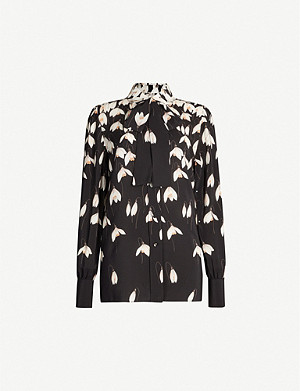 VALENTINO Tied-neck floral-print silk-crepe shirt