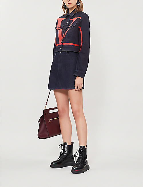 VALENTINO High-waist A-line denim mini skirt