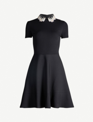 VALENTINO Sequin-trimmed stretch-knit mini dress