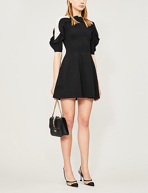 3d28b381f1 VALENTINO Ruffled fit-and-flare stretch-knit mini dress