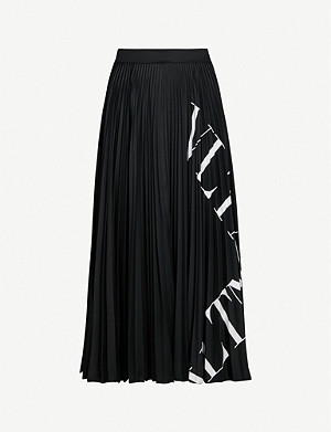 VALENTINO Logo-print pleated stretch-jersey midi skirt