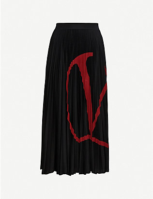 VALENTINO: Logo-print pleated woven midi skirt