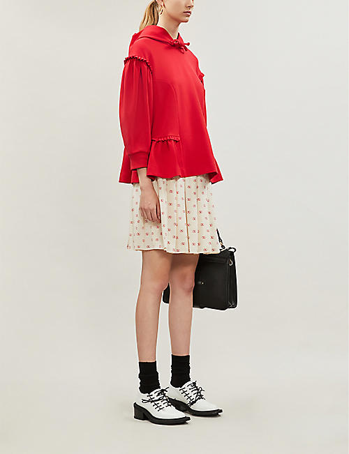 VALENTINO Logo-print pleated silk skirt