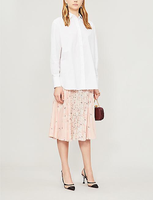 3216c54c186b VALENTINO High-waist pleated floral-print silk-crepe midi skirt
