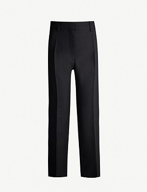 VALENTINO Classic straight wool and silk-blend trousers