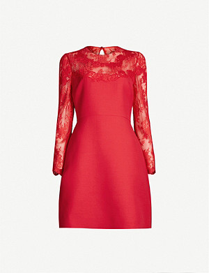 VALENTINO Lace-panelled wool and silk-blend mini dress