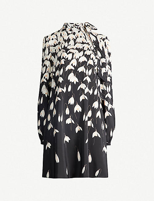 47586220b86c VALENTINO Floral-print silk mini dress