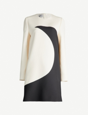 VALENTINO Moon wool and silk-blend shift dress
