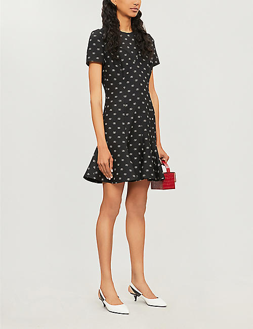 VALENTINO Logo-covered flared wool and silk-blend dress