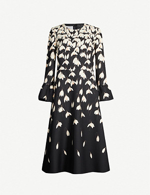 VALENTINO Flared-cuff floral-print wool and silk-blend midi dress