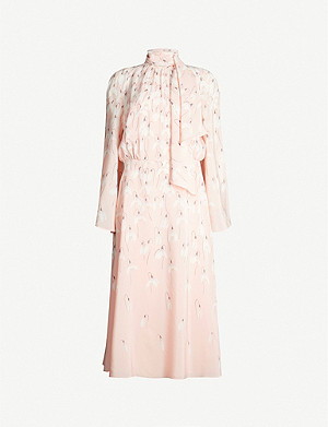 VALENTINO Tied-neck floral-print silk-crepe midi dress