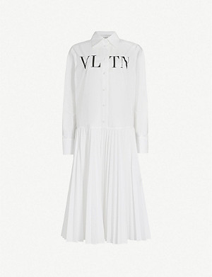 VALENTINO Logo-print loose-fit cotton-poplin midi shirt dress