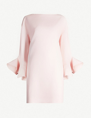 VALENTINO Ruffled-sleeve wool and silk-blend mini dress