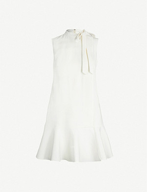 VALENTINO Tie-neck stretch-wool mini dress