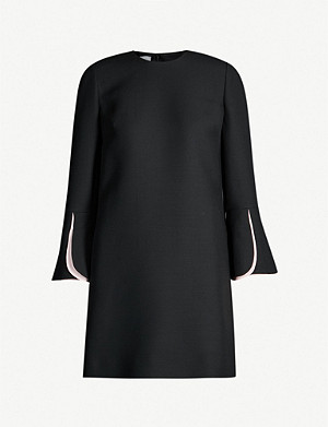 VALENTINO Round-neck wool-and-silk blend mini dress