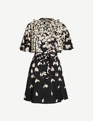 VALENTINO Floral-print silk mini dress