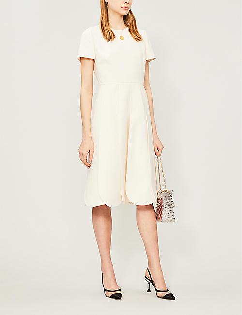 VALENTINO Petal wool and silk-blend dress